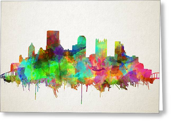 Cathedral Of Learning Greeting Cards - Pittsburgh skyline watercolor 5 Greeting Card by MB Art factory