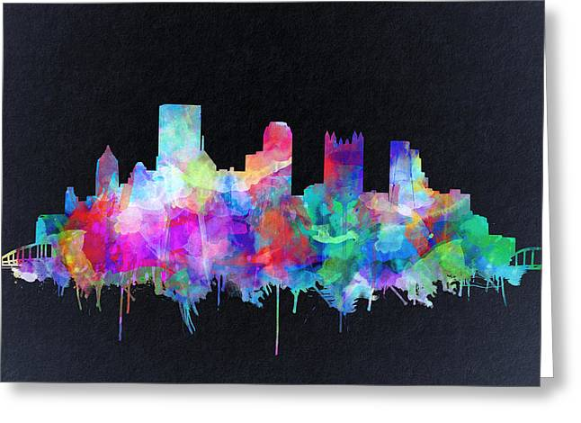 Cathedral Of Learning Greeting Cards - Pittsburgh skyline watercolor 6 Greeting Card by MB Art factory