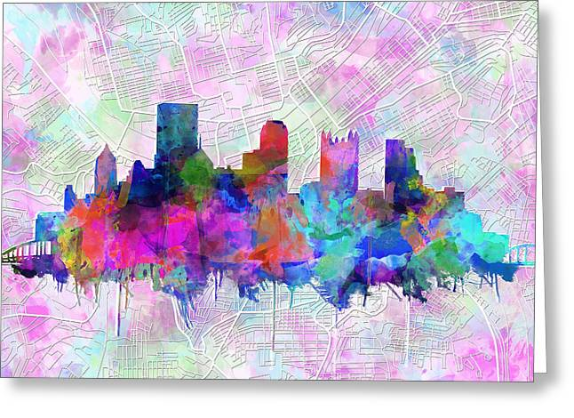 Cathedral Of Learning Greeting Cards - Pittsburgh skyline watercolor Greeting Card by MB Art factory