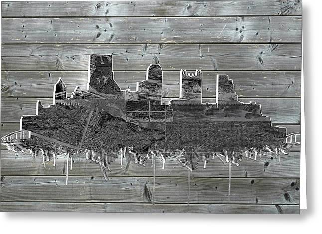 Cathedral Of Learning Greeting Cards - Pittsburgh skyline wood Greeting Card by MB Art factory