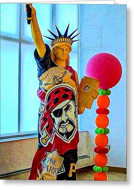 Pirates Greeting Cards - Pittsburgh Statue Of Liberty  Greeting Card by Kathy Liebrum Bailey