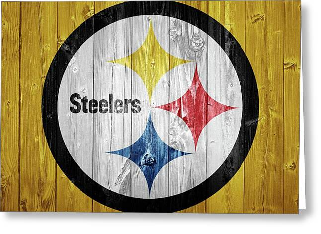 Pittsburgh Steelers Barn Door Greeting Card by Dan Sproul