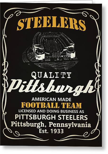 Pittsburgh Steelers Whiskey Greeting Card by Joe Hamilton