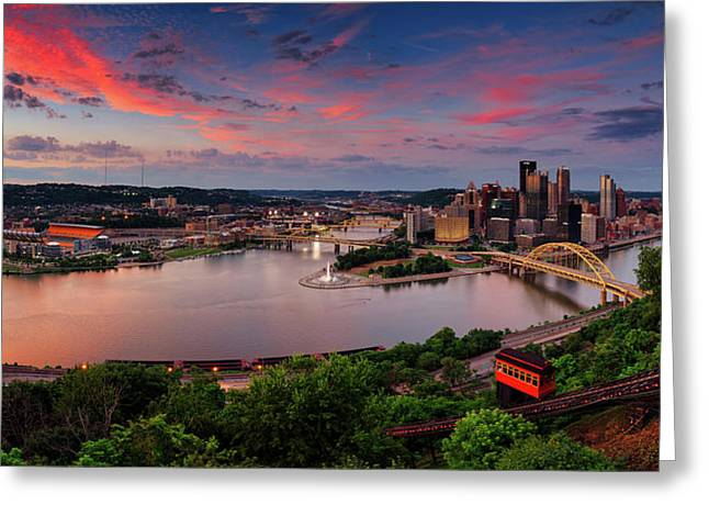 Pittsburgh Sunset Panorama  Greeting Card by Emmanuel Panagiotakis