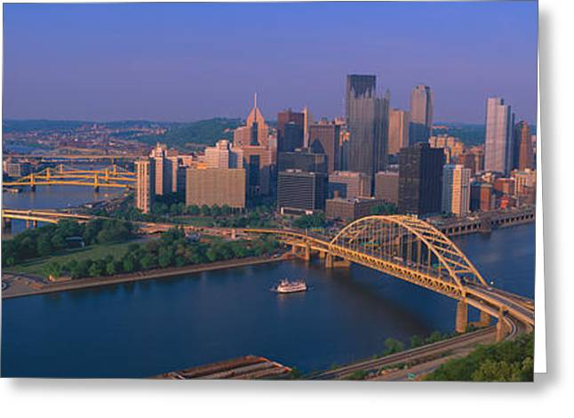 Pittsburgh,pennsylvania Skyline Greeting Card by Panoramic Images