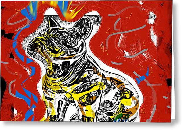 Silk Screen Greeting Cards - Pixel Dog Greeting Card by Russell Pierce