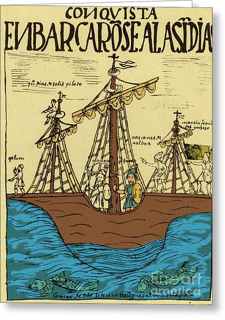 Historical Documents Greeting Cards - Pizarro En Route To Peru, 17th Century Greeting Card by Science Source