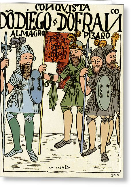 Historical Documents Greeting Cards - Pizarro Gathering Recruits, 17th Century Greeting Card by Science Source