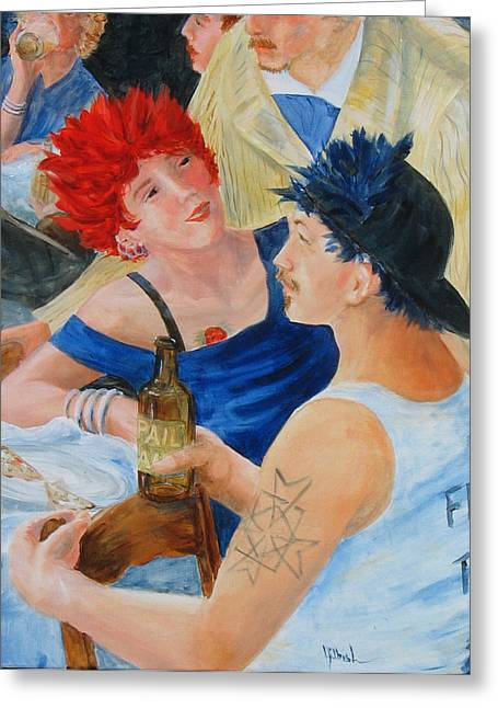 Renoir Tapestries - Textiles Greeting Cards - Pizza and Beer Greeting Card by Judy Hilbish