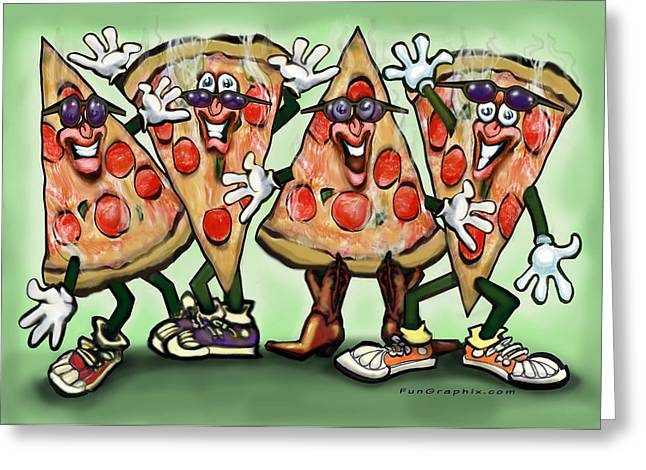 Funny Greeting Cards - Pizza Party Greeting Card by Kevin Middleton