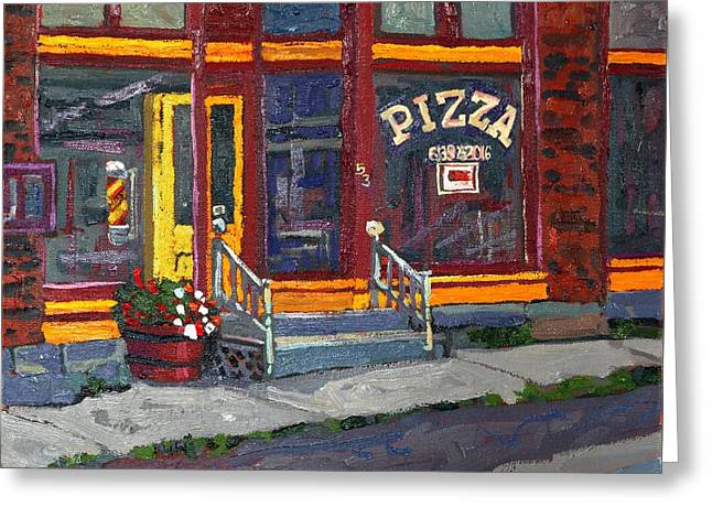 Delta Town Greeting Cards - Pizza To Go Gone Greeting Card by Phil Chadwick