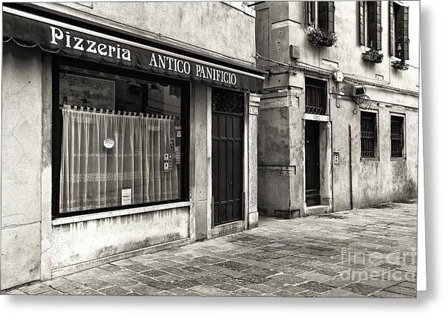 Pizza Places Greeting Cards - Pizzeria Antico Panicio Greeting Card by John Rizzuto