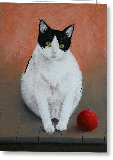 Tangerines Pastels Greeting Cards - PJ and the Ball Greeting Card by Marna Edwards Flavell