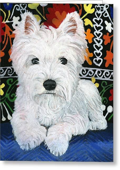 Pooch Greeting Cards - Pj Greeting Card by Debbie Brown