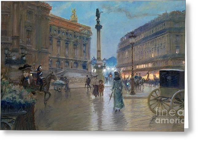 Urban Paintings Greeting Cards - Place de l Opera in Paris Greeting Card by Georges Stein