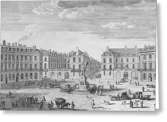 Horse And Cart Drawings Greeting Cards - Place des Victoires Greeting Card by Jacques Rigaud