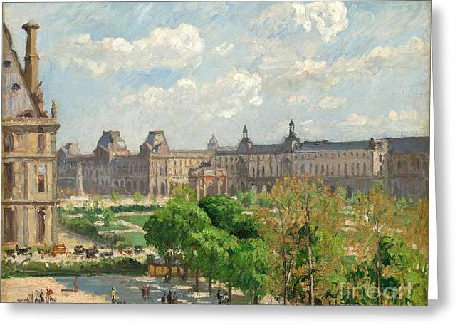 Pissarro; Camille (1830-1903) Greeting Cards - Place du Carrousel Greeting Card by Camille Pissarro