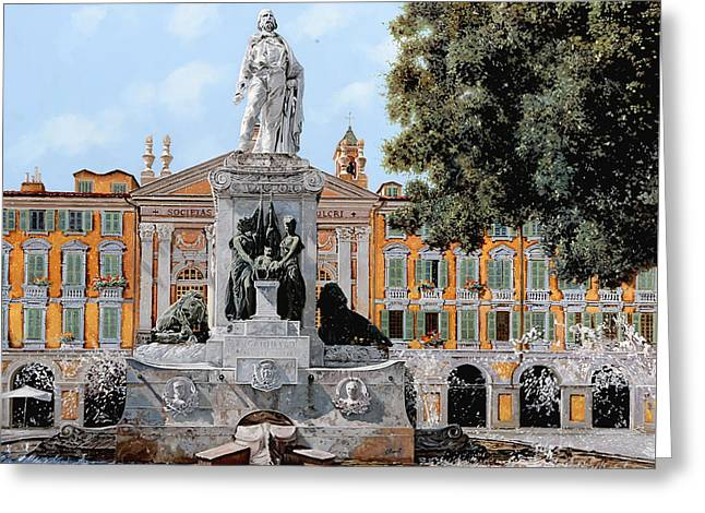 Place Garibaldi In Nice  Greeting Card by Guido Borelli