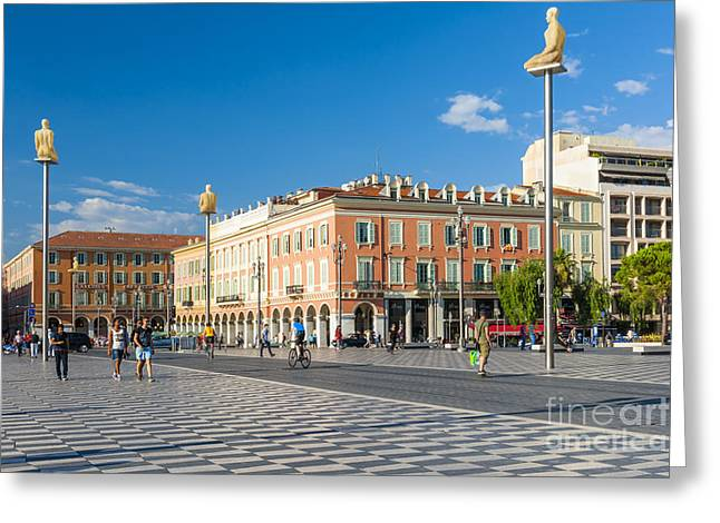 Art In Squares Greeting Cards - Place Massena in Nice Greeting Card by Elena Elisseeva