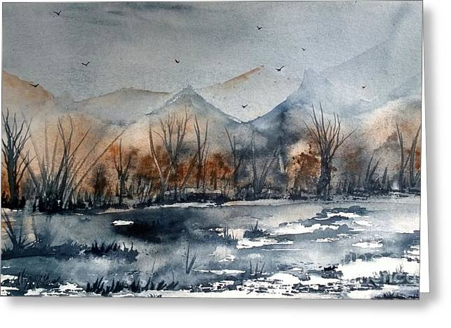 Wet Into Wet Watercolor Greeting Cards - Place Of Peace Greeting Card by Eunice Miller