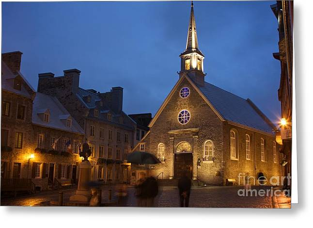 Church Street Greeting Cards - Place Royale and Notre-Dame-des-Victoires Church Greeting Card by Hideaki Sakurai