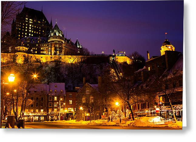 Illuminate Greeting Cards - Place-Royale at Twilight Quebec City Canada Greeting Card by Dawna  Moore Photography