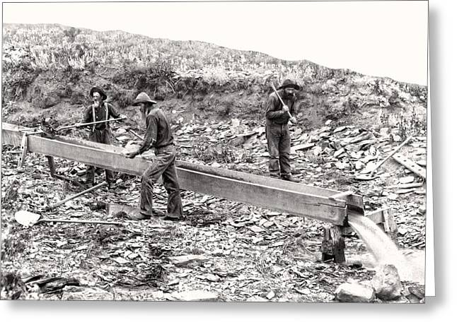 Placer Gold Mining C. 1889 Greeting Card by Daniel Hagerman