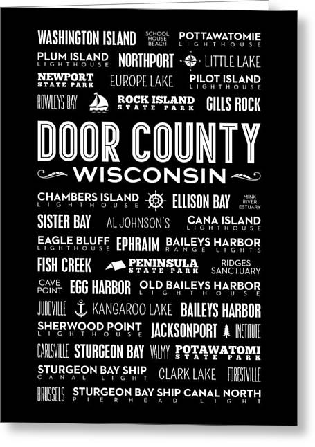 Places Of Door County On Black Greeting Card by Christopher Arndt
