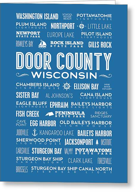 Places Of Door County On Blue Greeting Card by Christopher Arndt