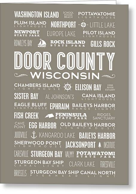 Places Of Door County On Brown Greeting Card by Christopher Arndt