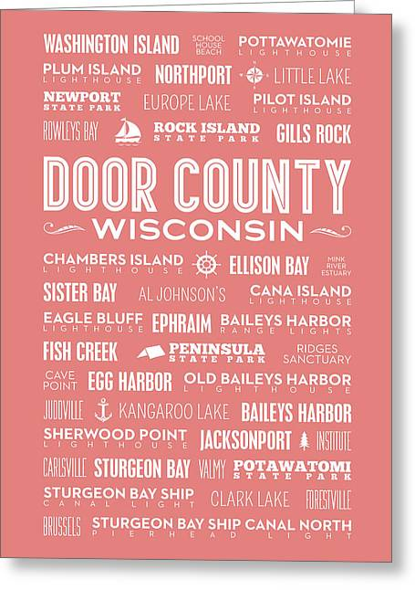 Places Of Door County On Coral Greeting Card by Christopher Arndt
