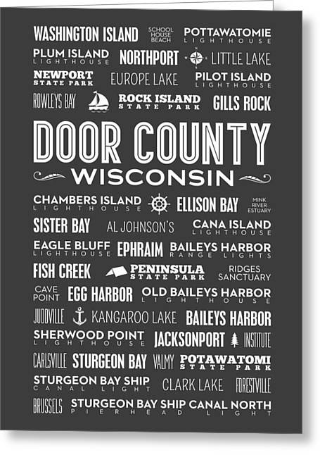 Places Of Door County On Gray Greeting Card by Christopher Arndt