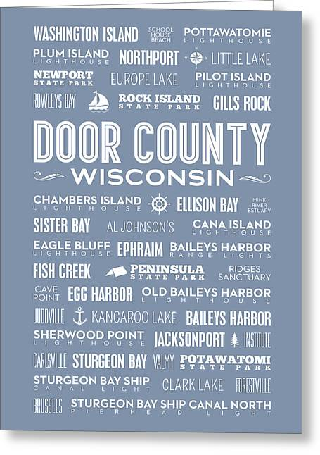 Places Of Door County On Light Blue Greeting Card by Christopher Arndt