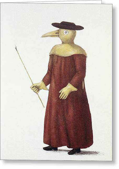 Epidemiology Greeting Cards - Plague Doctor, 18th Century Greeting Card by