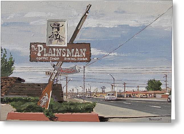 Road Trip Paintings Greeting Cards - Plainsman Greeting Card by Steve Beaumont
