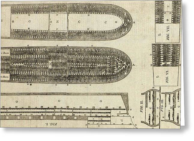 Cargo Greeting Cards - Plan of Brooks Slave Ship Greeting Card by American School
