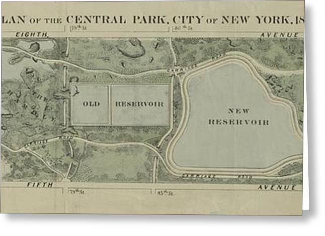 Plan Of Central Park City Of New York 1860 Greeting Card by Duncan Pearson