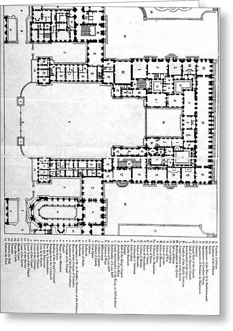 Chateau Drawings Greeting Cards - Plan Of First Floor Of Chateau Of Greeting Card by Ken Welsh