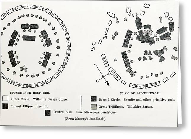 Actual Greeting Cards - Plan Of Stonehenge As If Restored Greeting Card by Vintage Design Pics