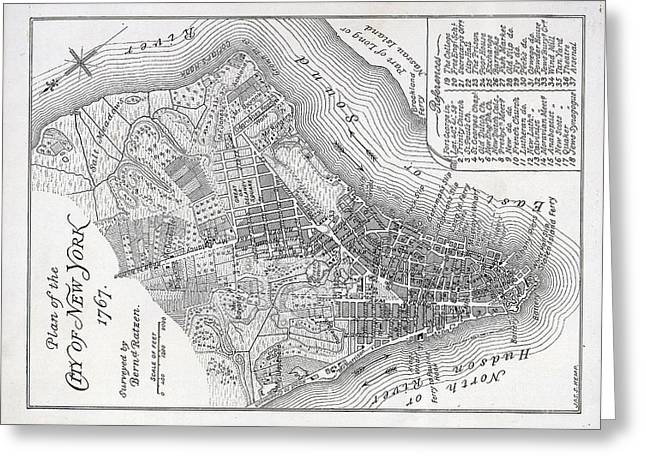 America City Map Greeting Cards - Plan of the City of New York Greeting Card by American School