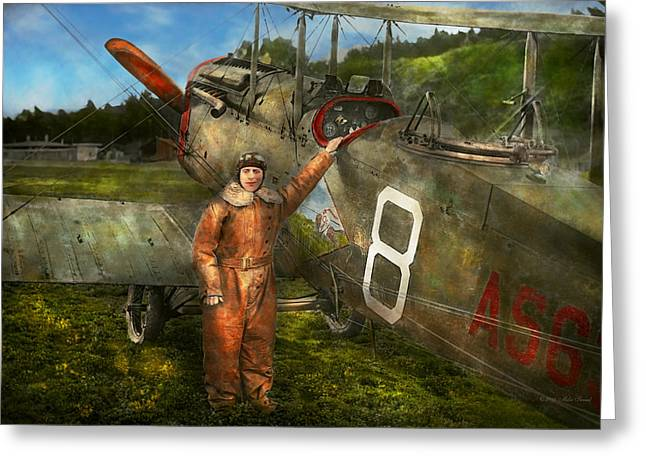 Airstrip Greeting Cards - Plane - First One-Stop Flight Across the US - 1921 Greeting Card by Mike Savad