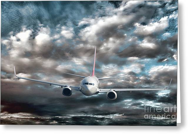 Landing Airplane Greeting Cards - Plane in Storm Greeting Card by Olivier Le Queinec