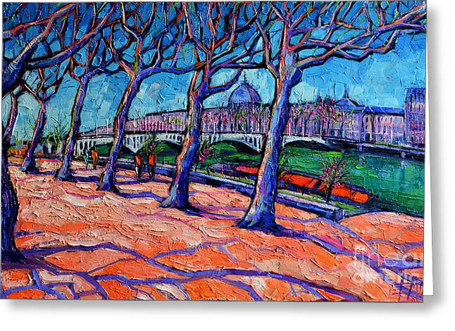 Purple Abstract Greeting Cards - Plane Trees Along The Rhone River - Spring In Lyon Greeting Card by Mona Edulesco