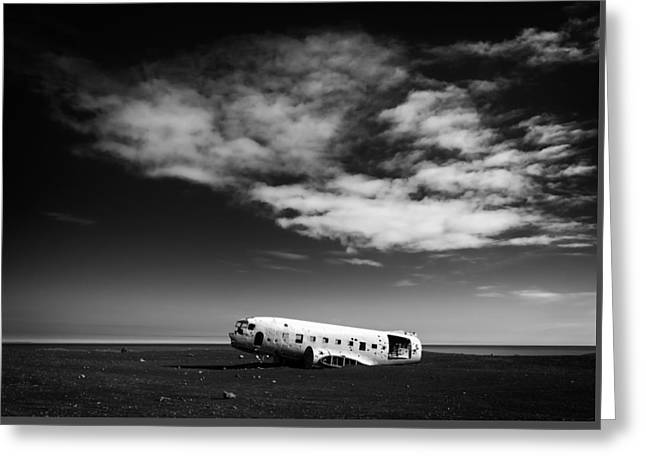 Dc-3 Greeting Cards - Plane wreck black and white Iceland Greeting Card by Matthias Hauser
