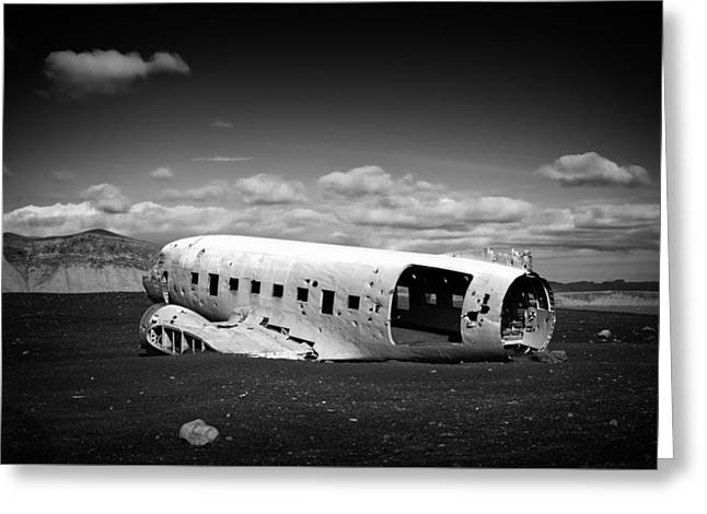 Dc-3 Greeting Cards - Plane wreck in Iceland black and white Greeting Card by Matthias Hauser