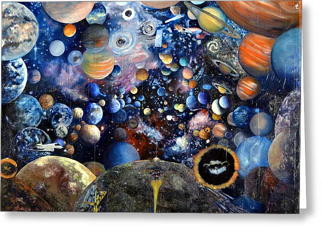 Enterprise Greeting Cards - Planet Collage Greeting Card by Walter James Artist