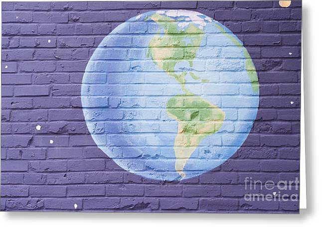 Blue Brick Greeting Cards - Planet Earth Greeting Card by Juli Scalzi