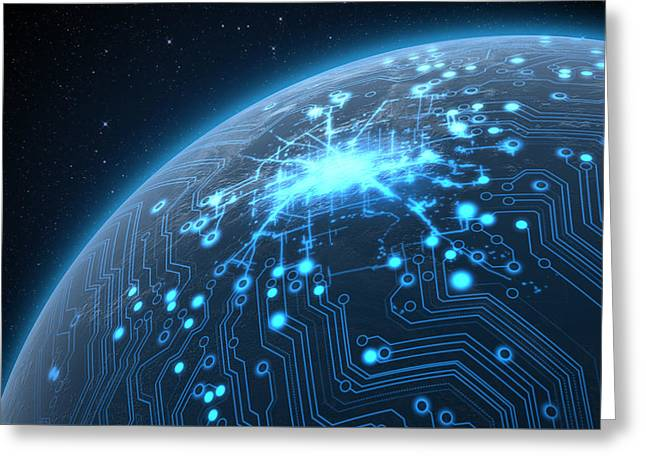 Planet With Illuminated Network Greeting Card by Allan Swart