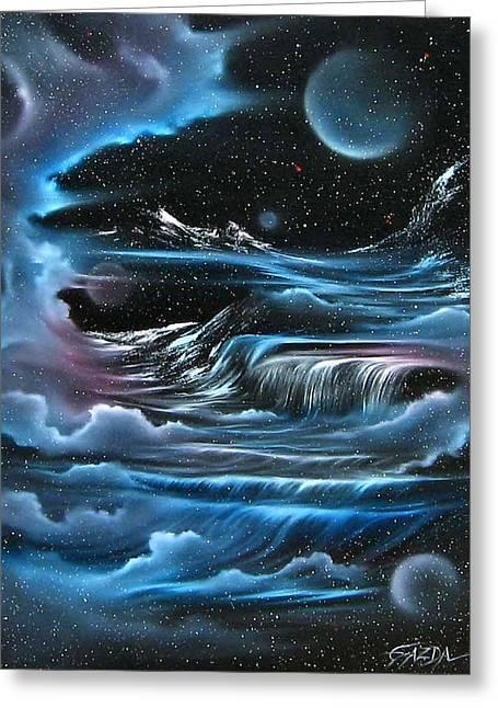 Planetary Falls Greeting Card by David Gazda