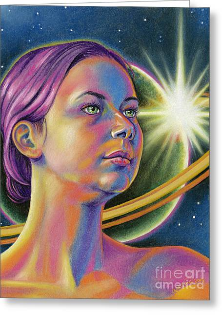 Science Fiction Pastels Greeting Cards - Planetary Princess Greeting Card by Adesina Sanchez